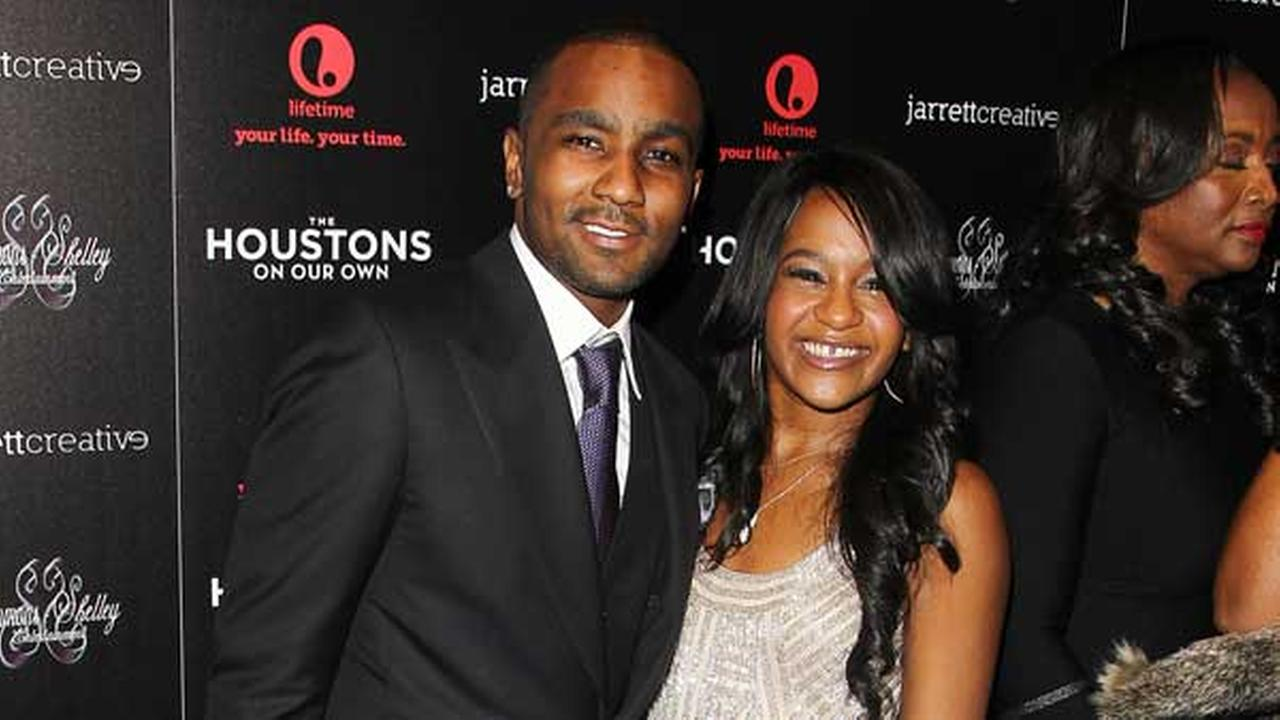 Nick Gordon and Bobbi Kristina Brown attend the premiere party for The Houstons On Our Own at the Tribeca Grand hotel on Monday, Oct. 22, 2012 in New York.