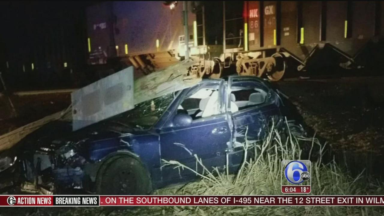 VIDEO: Car destroyed after hitting freight train