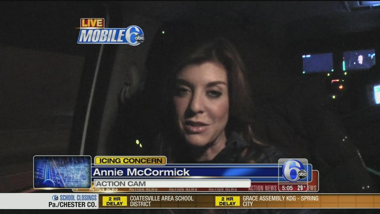 VIDEO: Annie McCormick reports from Mobile 6 on icy roads