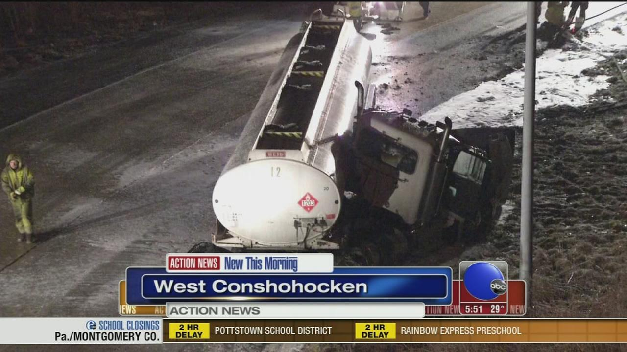 VIDEO: Tanker truck jackknifes on I-476 in West Conshohocken