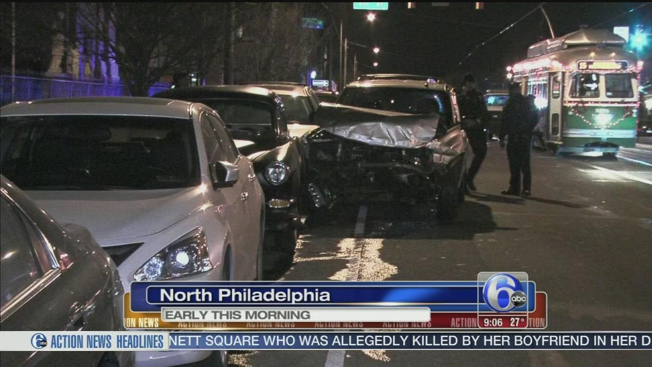 VIDEO: SUV slams into SEPTA trolley in North Philly, 2 men flee