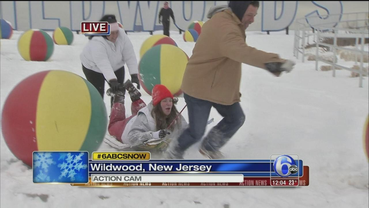 VIDEO:  In Wildwood, snow fun among the beach balls