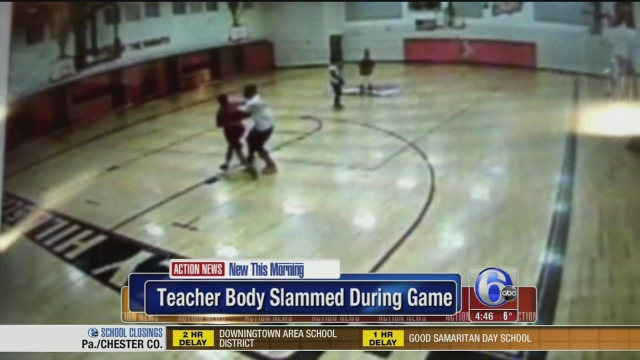 VIDEO: Teacher body slammed during game