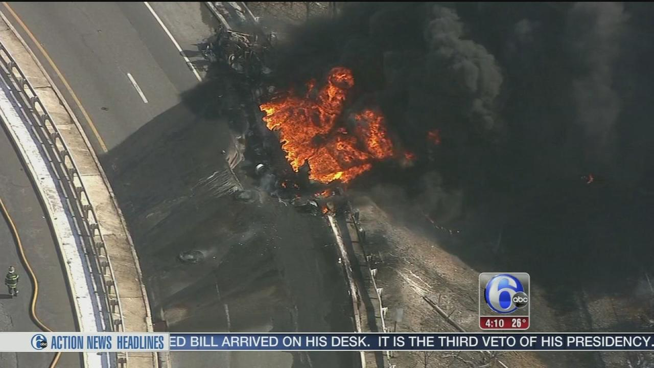VIDEO: Ramp remains closed after tank truck fire