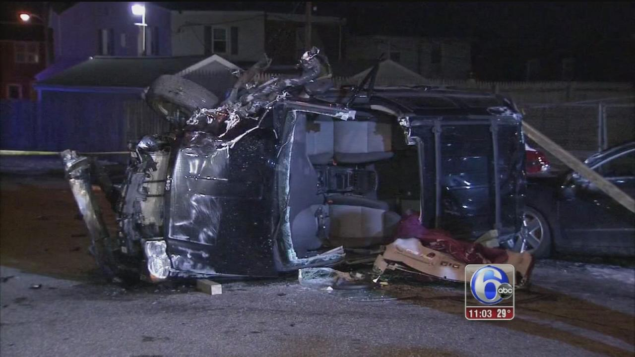 VIDEO: Car lands on its side after crash in Holmesburg