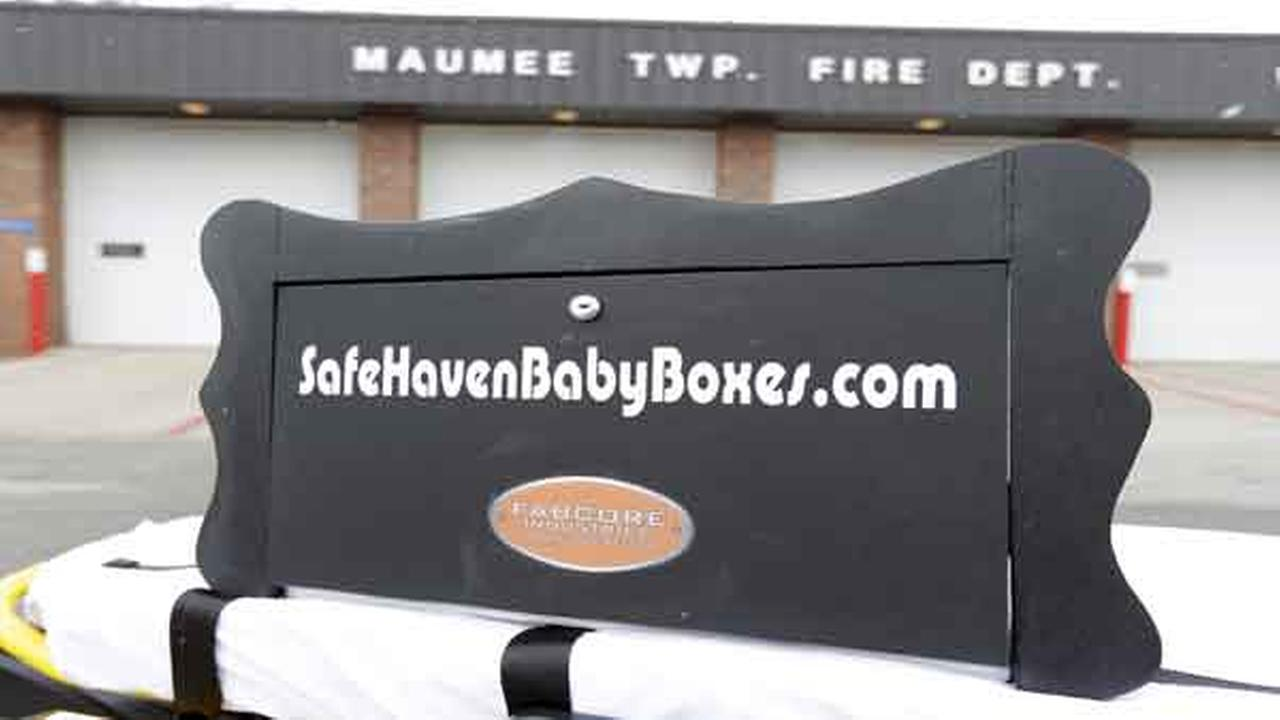 A prototype of a baby box, where parents could surrender their newborns anonymously, is shown outside the fire station in Woodburn, Ind., Thursday, Feb. 26, 2015.