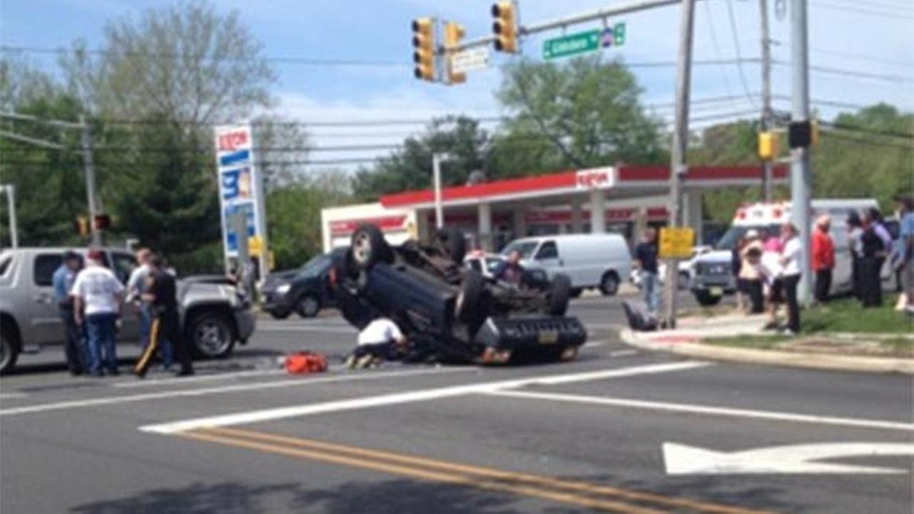 SUV overturns in Clementon, New Jersey