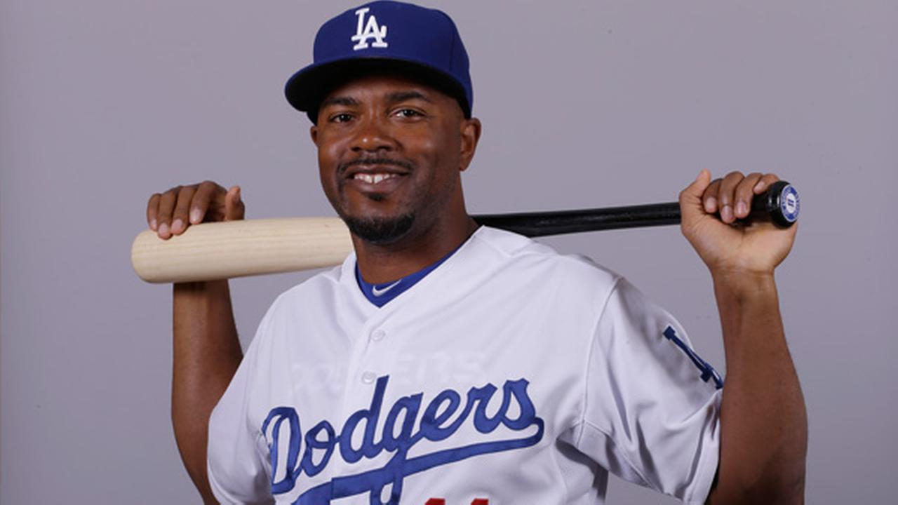 This is a 2015 photo of Jimmy Rollins of the Los Angeles Dodgers baseball team.
