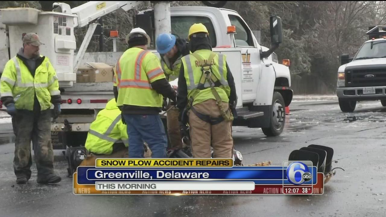 VIDEO: Repairs after DelDOT plow accident