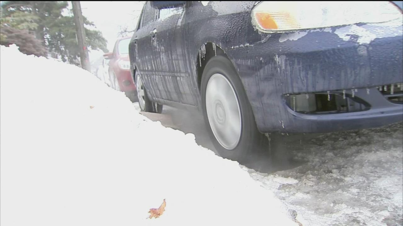 VIDEO: Frozen morning makes walking, driving difficult