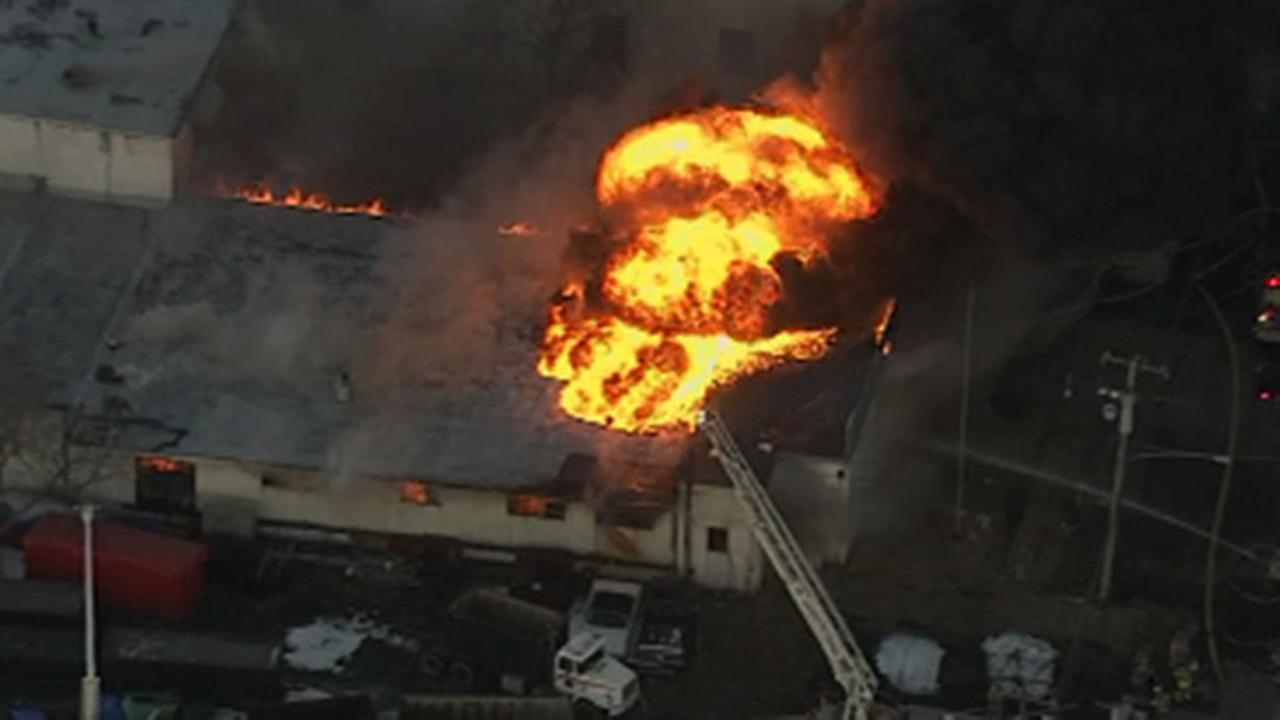 3 alarm fire burning through sheet metal plant in Upper Moreland