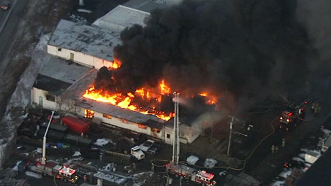 Chopper 6 over the scene of a multi-alarm fire in Upper Moreland, Pa.
