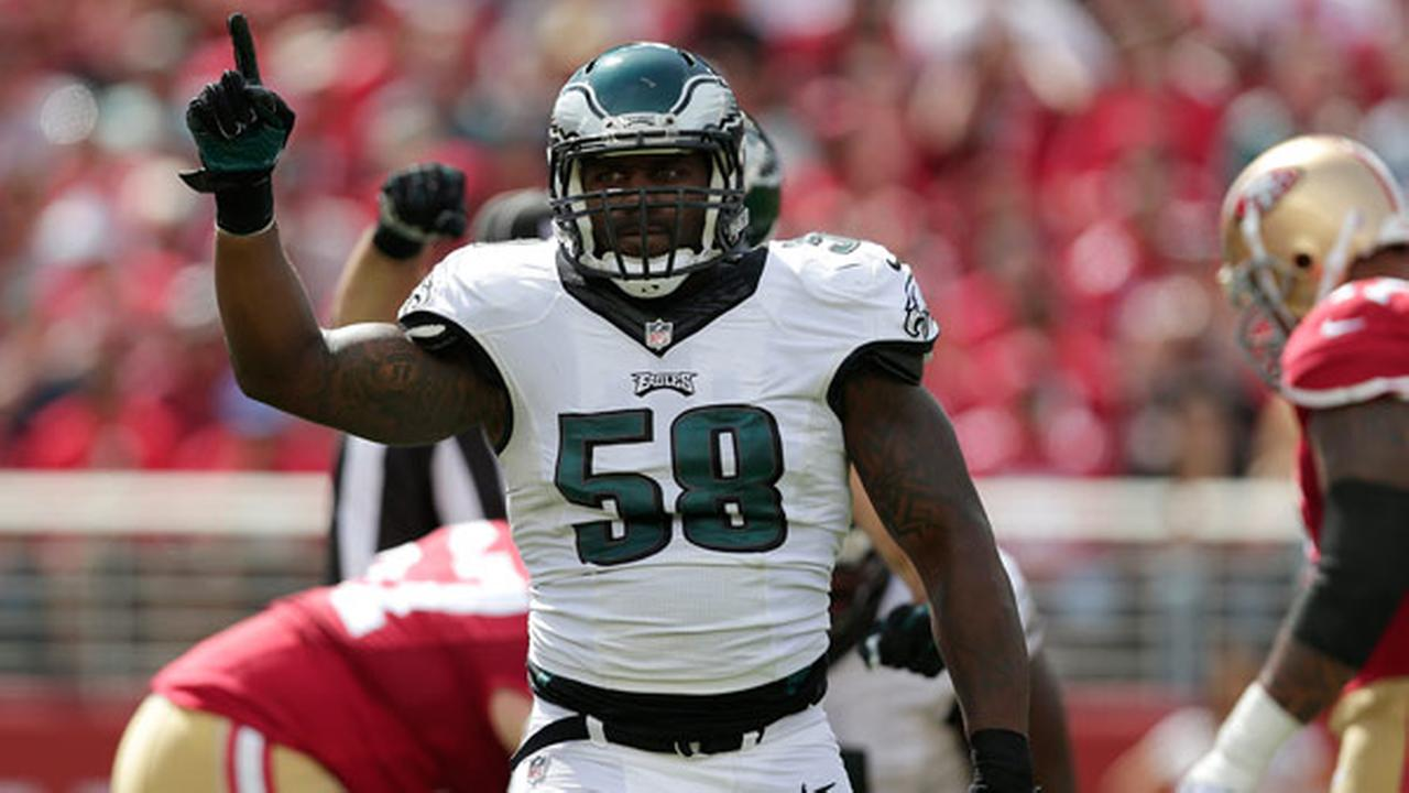 Philadelphia Eagles outside linebacker Trent Cole (58) against the San Francisco 49ers during the first half of an NFL football game in Santa Clara, Calif., Sunday, Sept. 28, 2014.