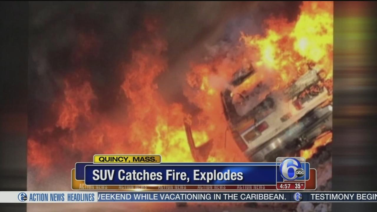VIDEO: SUV catches fire and explodes in Mass.