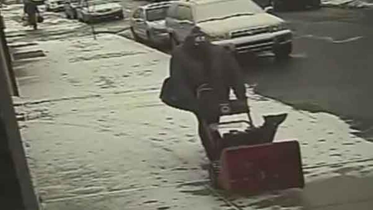 Philadelphia police are searching for a burglar who stole a snow blower and other items from a condo community in the citys Kensington section.