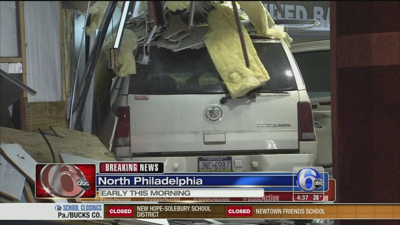 VIDEO: Driver loses control, crashes SUV into North Philly bank