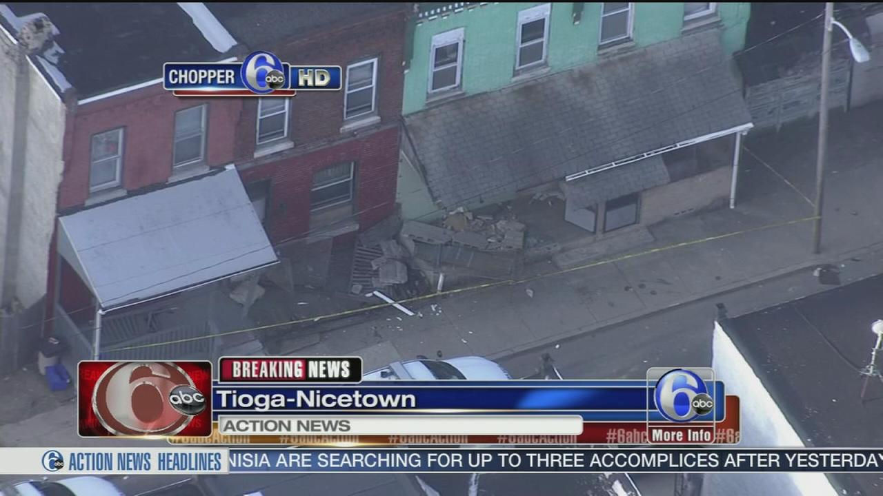 VIDEO: Vehicle strikes 3 homes in Tioga-Nicetown