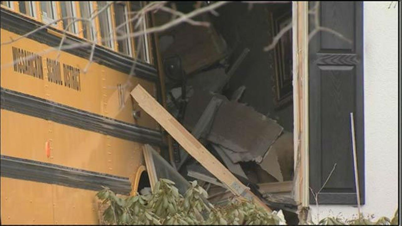 PHOTOS: School bus hits home in Blue Bell, Pa.