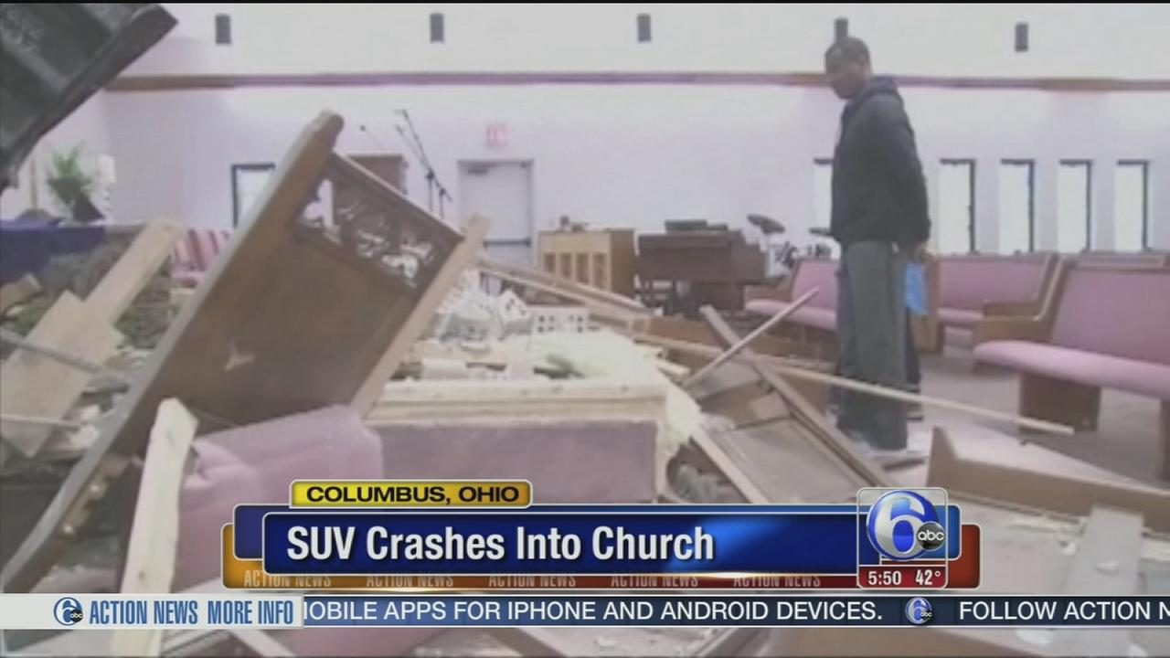 VIDEO: Stolen SUV crashes into Ohio church