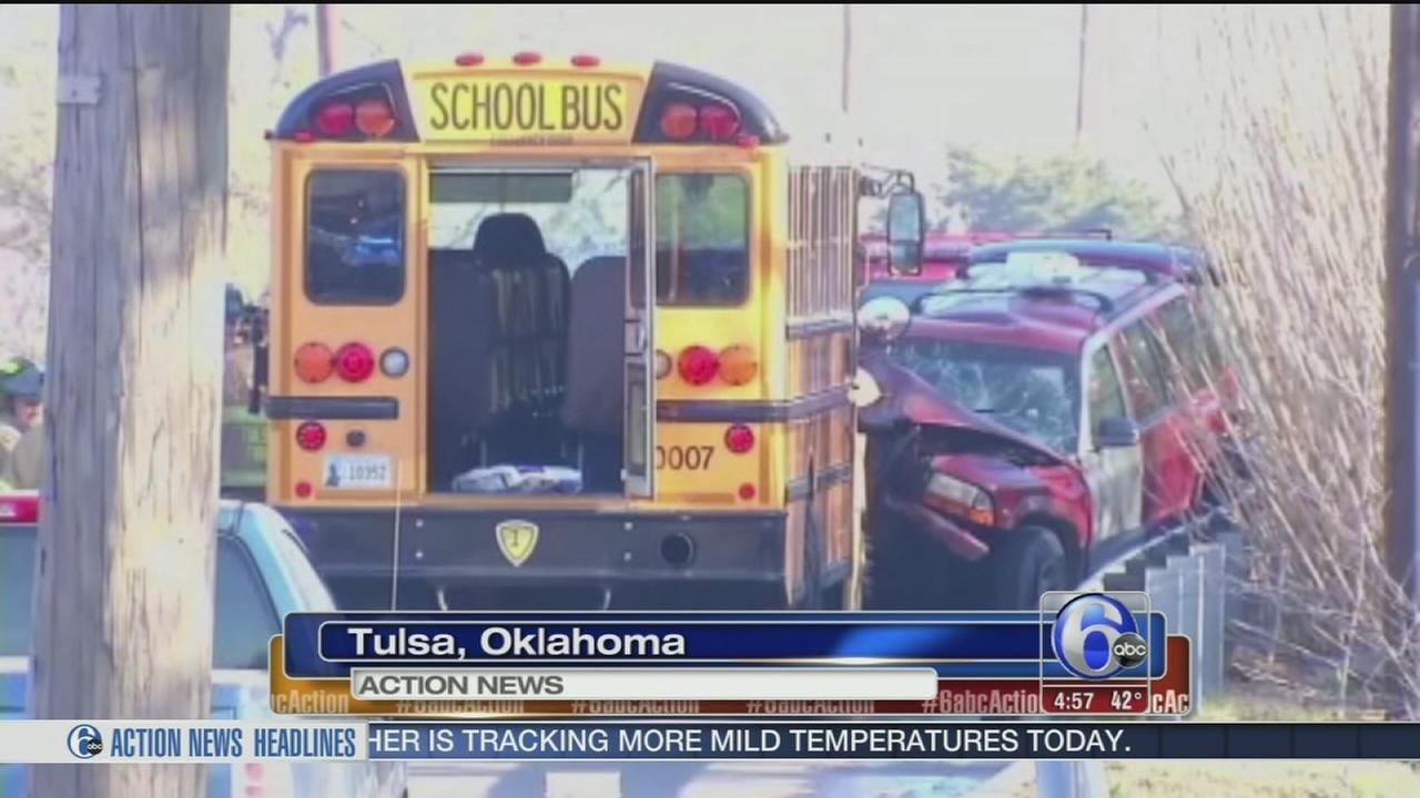 VIDEO: Wrong-way driver slams SUV into school bus