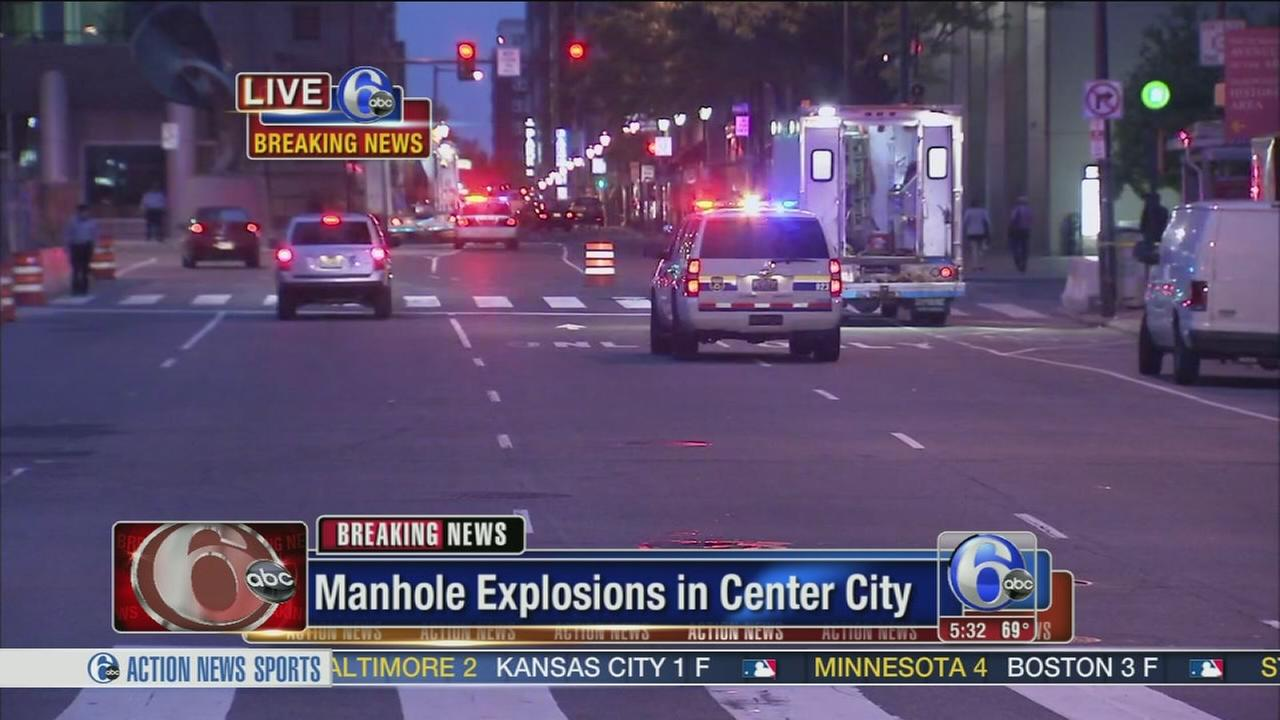 VIDEO: Electrical fire blows manhole covers in Center City
