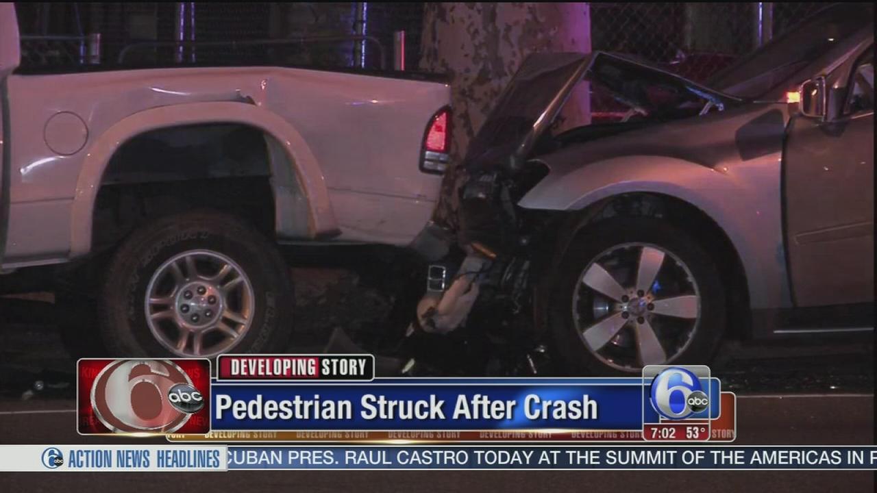 VIDEO: Pedestrian struck after 2-vehicle crash in East Oak Lane