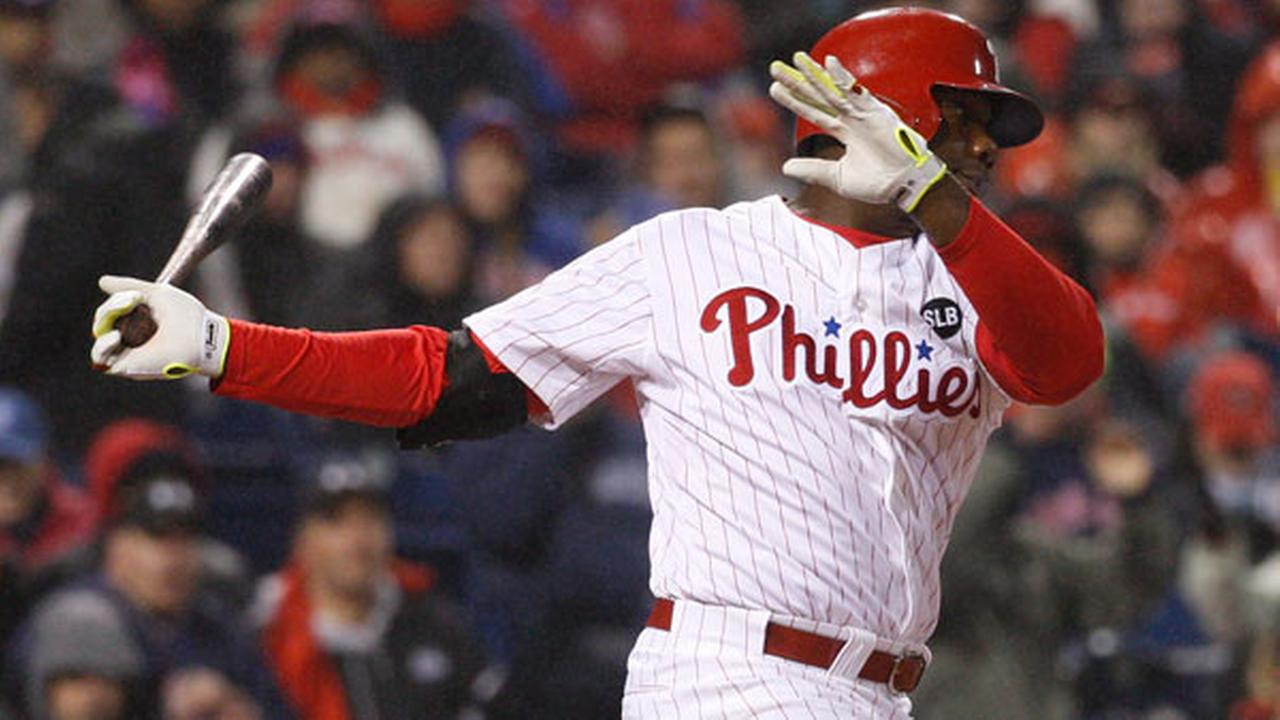 Philadelphia Phillies Ryan Howard in action during the fourth inning of a baseball game against the Boston Red Sox, Wednesday, April 8, 2015, in Philadelphia.