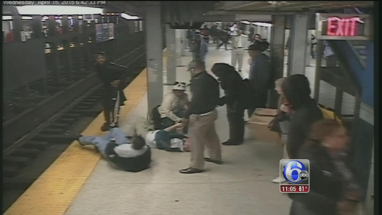 VIDEO: Hero jumps on SEPTA tracks to save man who fell