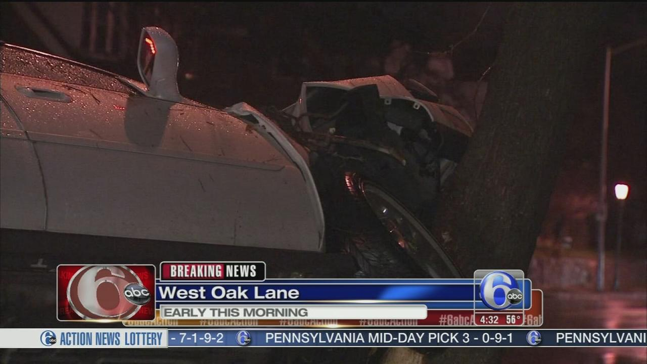 VIDEO: Driver crashes car into tree in West Oak Lane