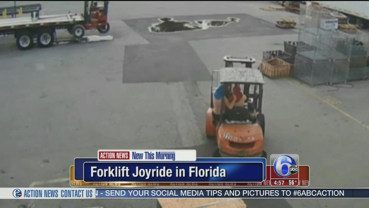 VIDEO: Students go on joyride on forklift