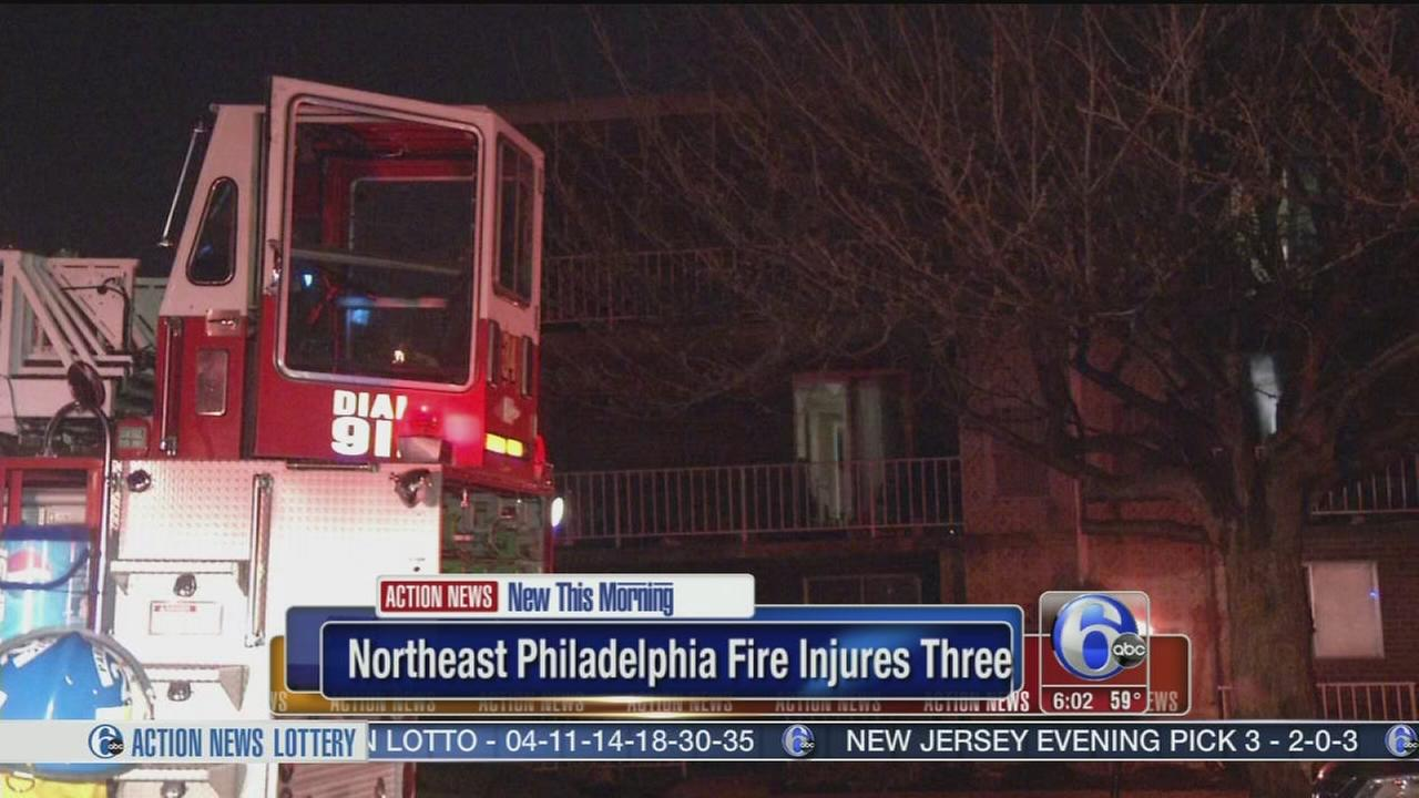 VIDEO: Father, son and firefighter hurt after apt. blaze in NE Philly