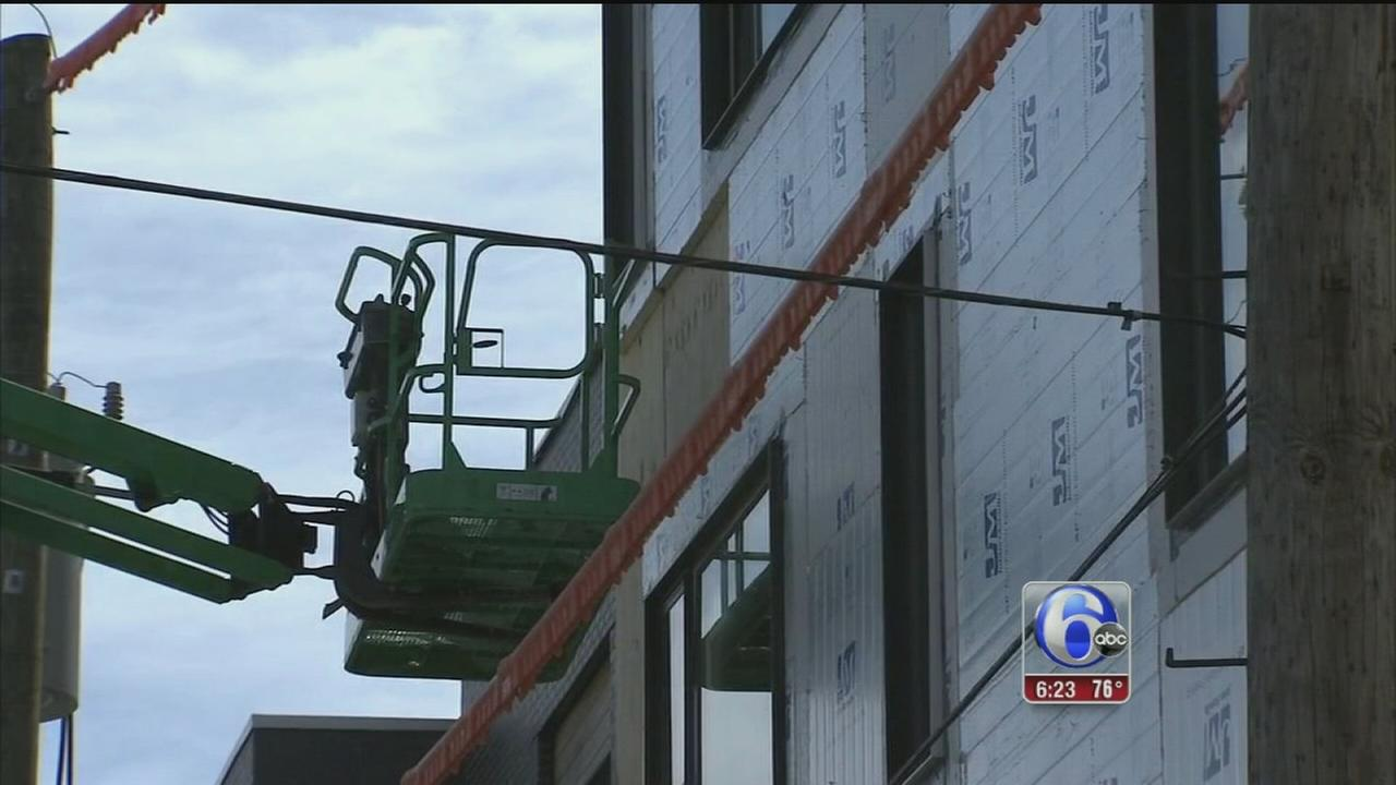 VIDEO: Worker shocked in construction accident in N. Phila.