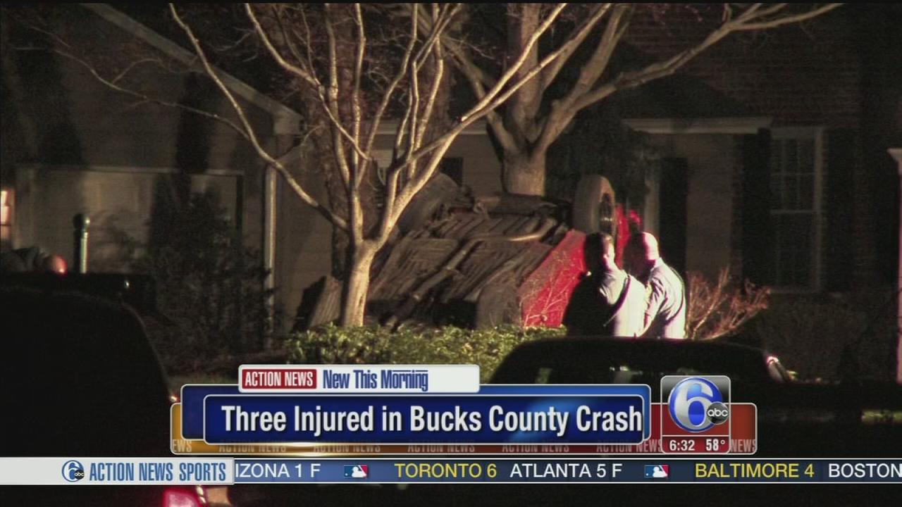 VIDEO: 3 injured in Bucks County crash