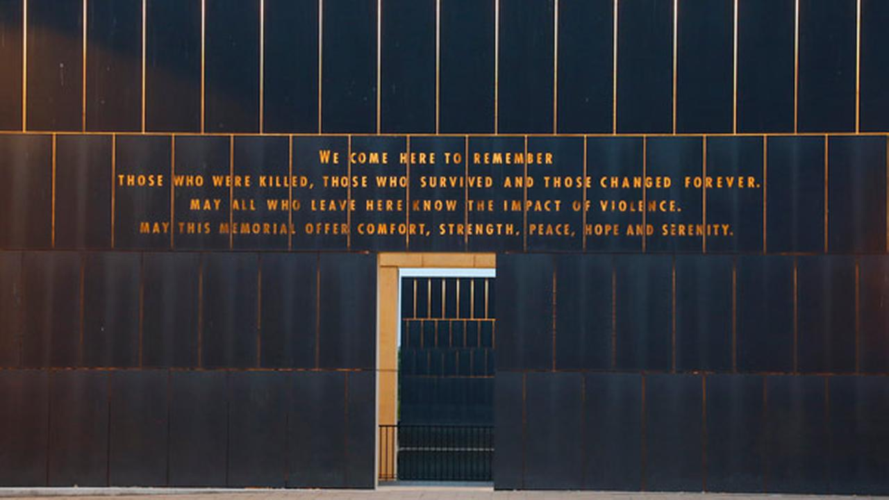 The entrance to the Oklahoma City National Memorial is pictured at dusk in Oklahoma City, Tuesday, April 14, 2015.