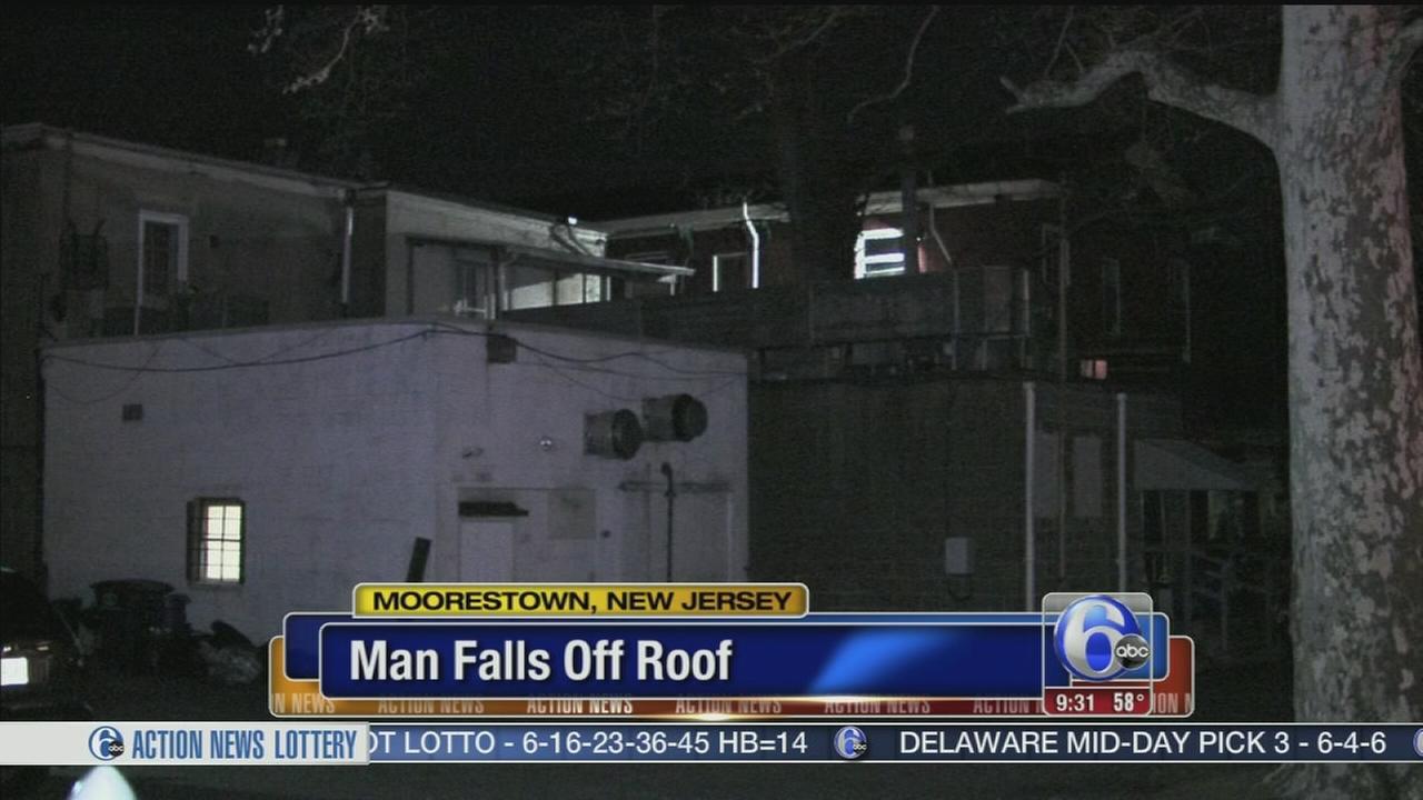 VIDOE: Man falls off roof