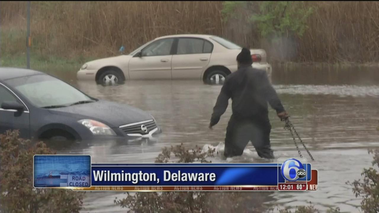 VIDEO: Cars stuck on flooded road in Wilmington