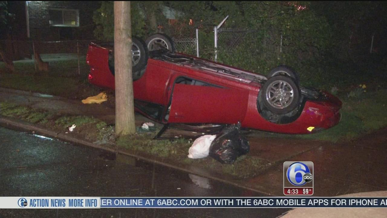 VIDEO: Driver loses control, car flips onto roof in NE Philly