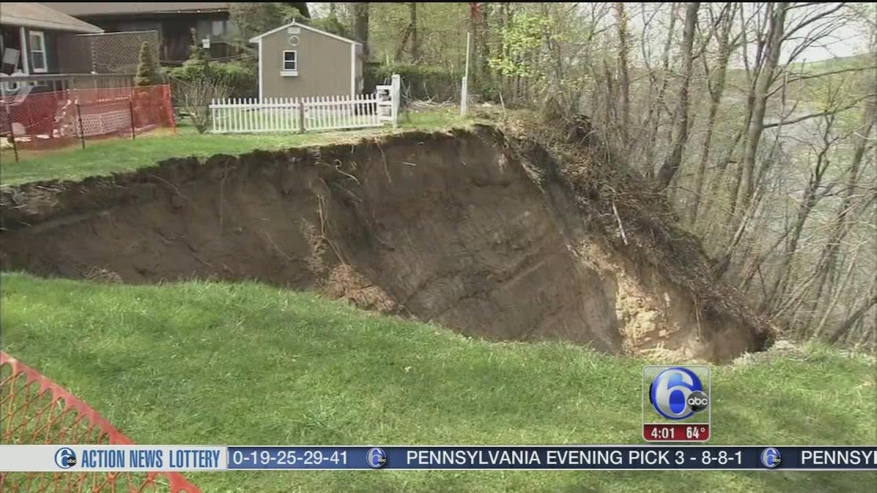 VIDEO: NJ home at rick of slipping into massive hole