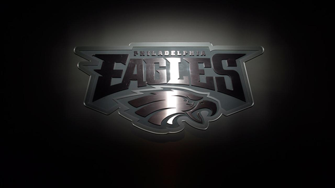 The Philadelphia Eagles logo is shown at the teams practice facility in Philadelphia.