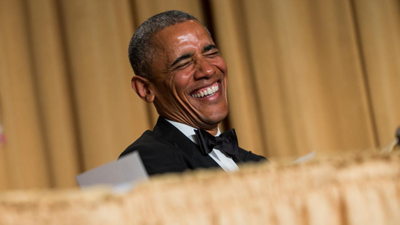 President Barack Obama laughs at a joke during the White House Correspondents Association dinner at the Washington Hilton on Saturday, April 25, 2015, in Washington.