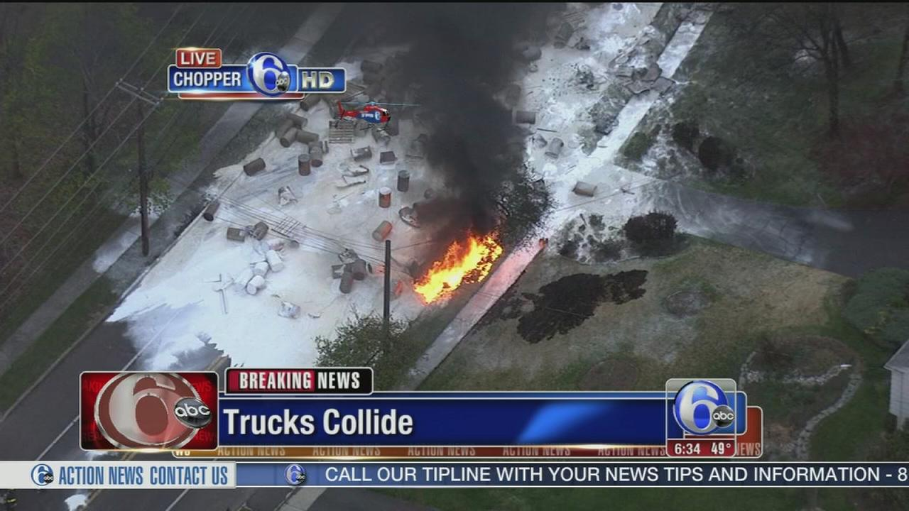 VIDEO: Fiery truck crash in Lr. Providence