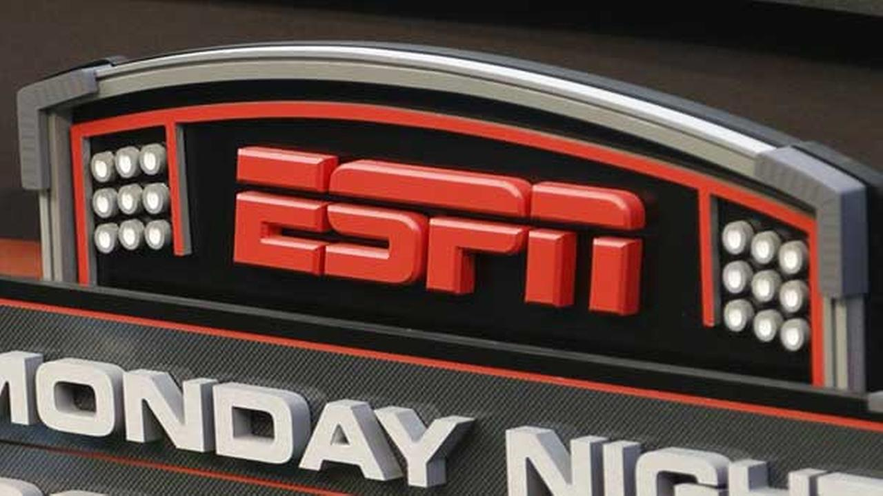 FILE - This Sept. 16, 2013 photo shows the ESPN logo prior to an NFL football game.