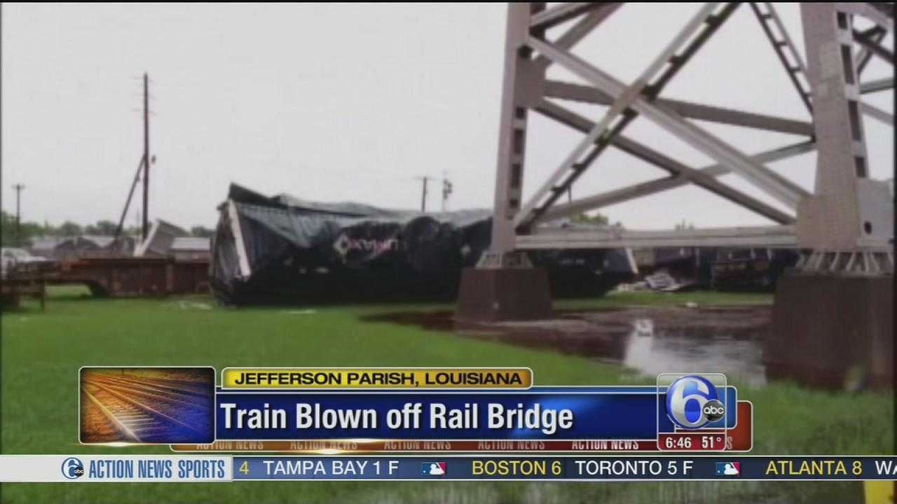 VIDEO: Train blown off rail bridge in La.