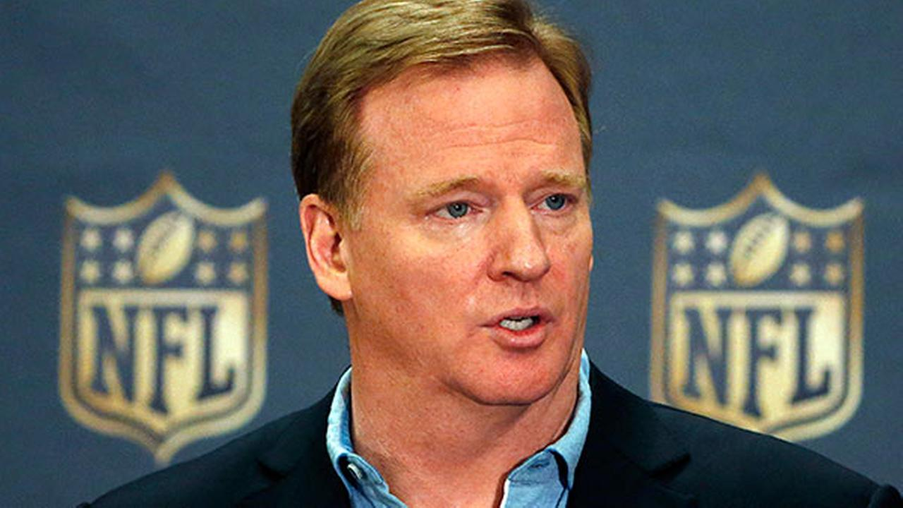 FILE - In this March 25, 2015, file photo, NFL Commissioner Roger Goodell addresses the media at a news conference at the NFL Annual Meeting in Phoenix.