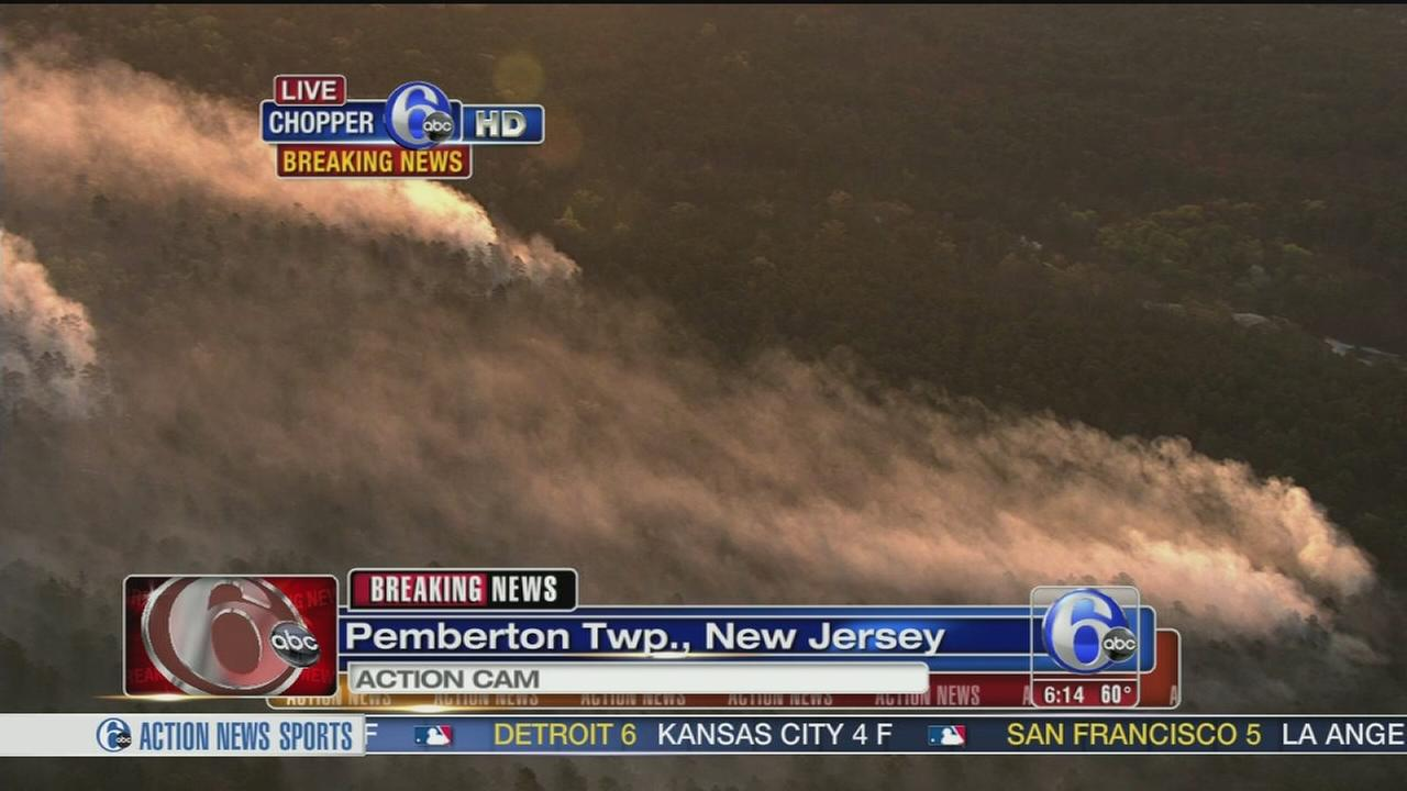 VIDEO: Brush fires burning in Pemberton, NJ