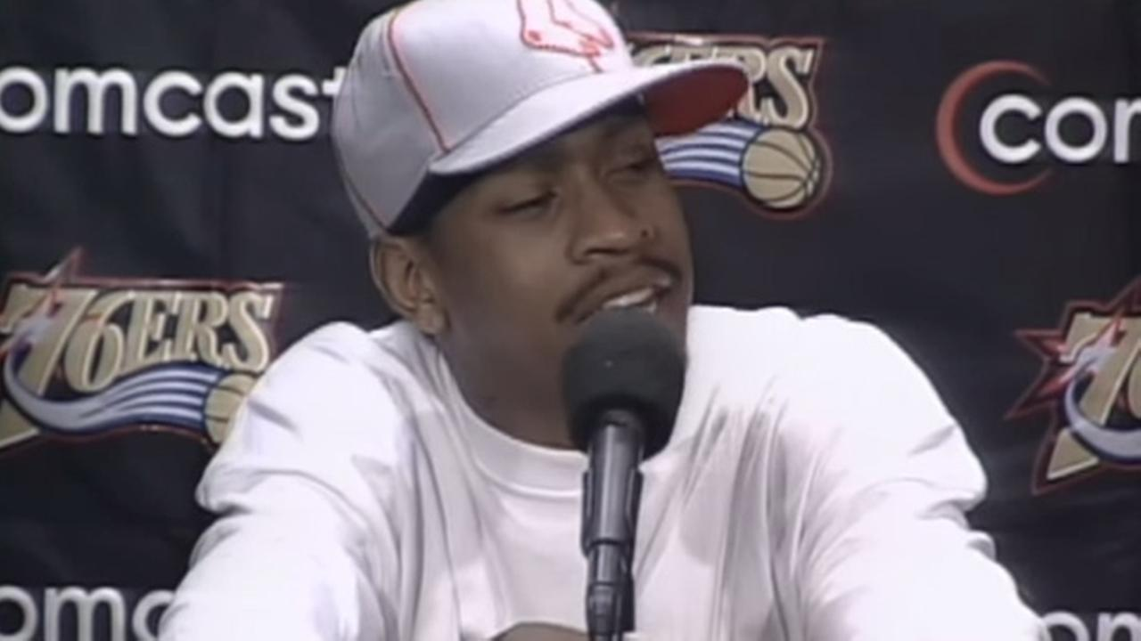 Allen Iverson speaks during a press conference on May 7, 2002.