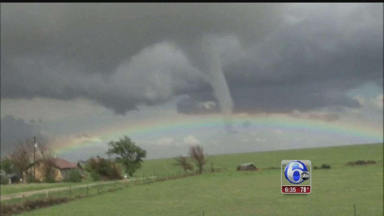 VIDEO: Rainbow appears as tornado touches down
