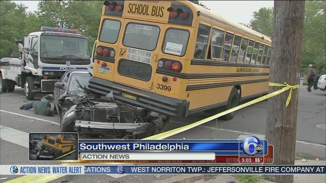 Driver flees after car, school bus collide