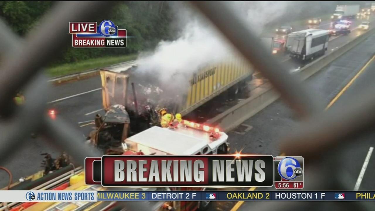 VIDEO: 2 trucks, tour bus crash on NJ Turnpike
