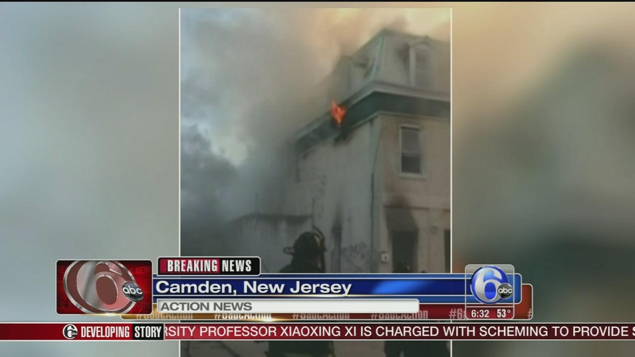 VIDEO: Firefighter hurt battling blaze in Camden